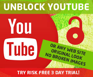 Unblock Youtube, or any web site! Original look and no broken Images! Try risk free, 3 day trial!